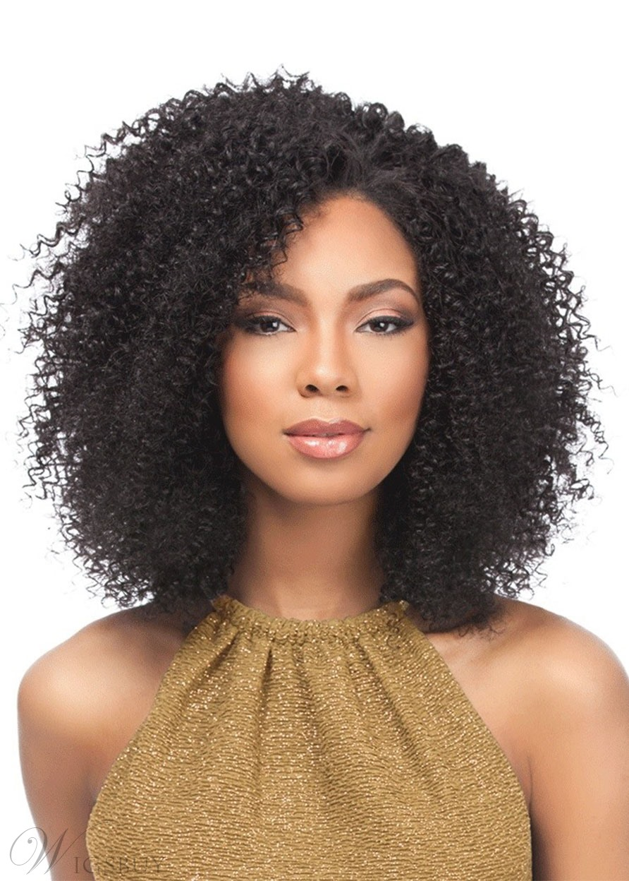 Women's Afro Kinky Curly Human Hair Lace Front African American Wigs 18Inch