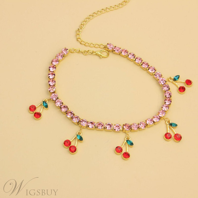Korean Style Women/Ladies Leaf Pattern E-Plating Technic Round Stone Cut Artificial Crystal Chain Necklace