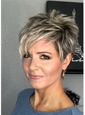 Women's Short Pixie Cut Hairstyle Stright Synthetic Hair Capless Wigs 6Inch