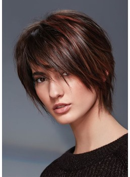 Women's Short Shaggy Hairstyles Straight Human Hair Capless Wigs With Bangs 10Inch