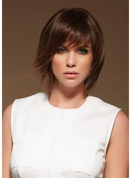 Women's Short Layered Hairstyles Straight Synthetic Hair Wigs With Bangs Capless Wigs 10Inch