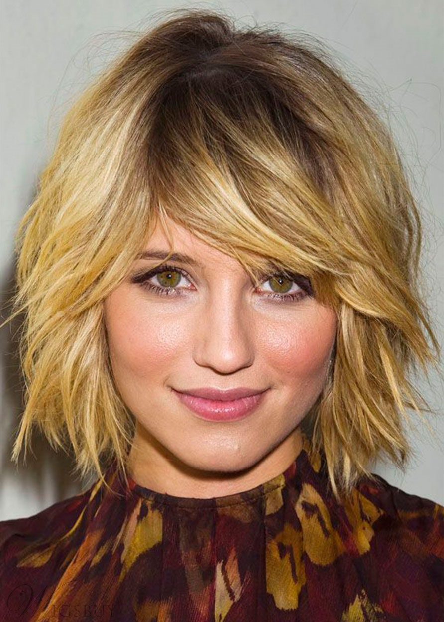 Fabulous Short Shaggy Hairstyles Women's Natural Straight Human Hair Capless Wigs 10Inch