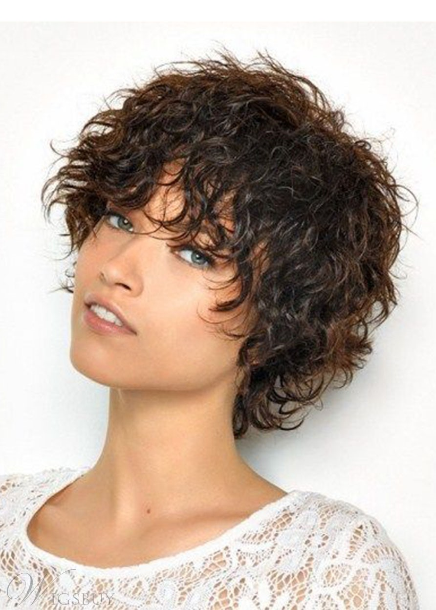 Women's Layered Curly Hairstyles Synthetic Hair Capless Wigs With Bangs 10Inch