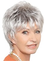 Short Haircut Natural Straight Synthetic Hair Wig For Women Over 60