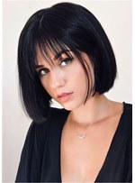 Bob Hairstyle Straight Synthetic Hair Wigs With Bangs 12 Inches