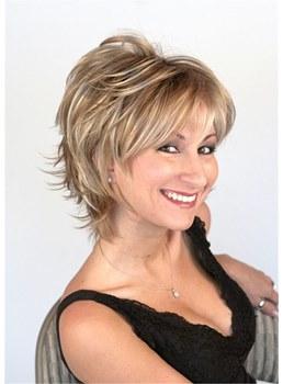 Short Layered Synthetic Hair Women Wig 10 Inches