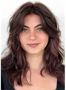 Long Fluffy Hairstyle Human Hair Wigs For Round Face 18 Inches