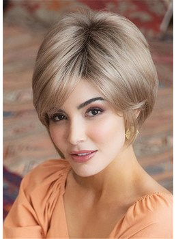 Short Layered Hairstyle With Bangs Synthetic Hair Straight Women Wig 10 Inches
