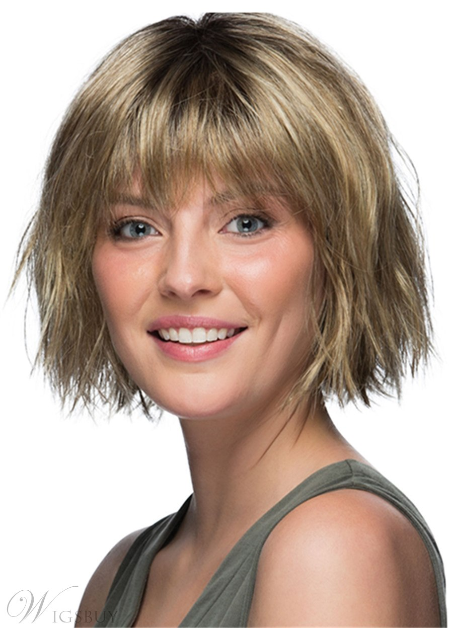 Short Bob Style Choppy Synthetic Hair Natural Straight Women Wig 12 Inches