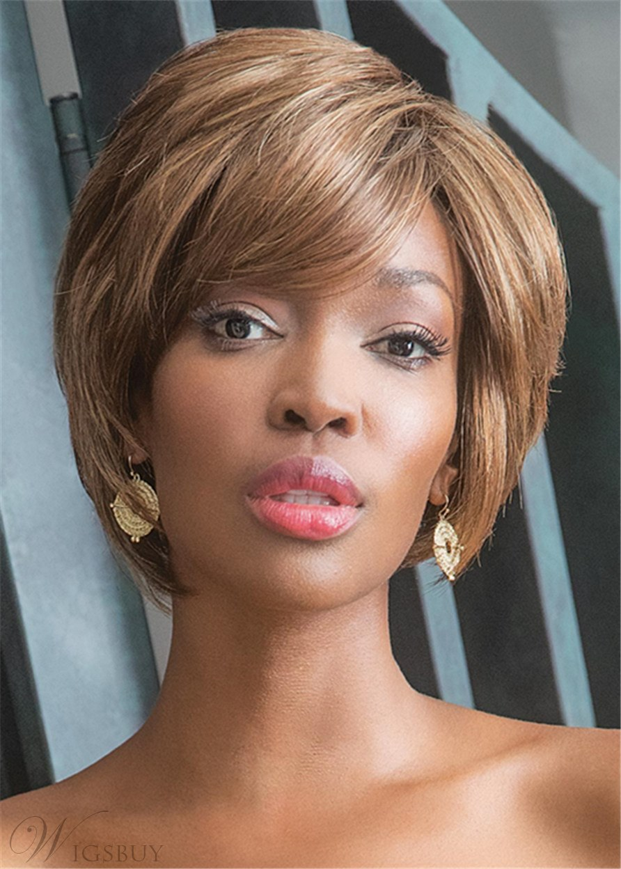 Bob Haircut Side Part Straight Synthetic Hair Capless Wigs With Bangs 10Inches