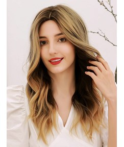 130% Density Breathable&Durable Simulated Scalp Women's Wavy Synthetic Hair Capless Wigs 24Inches