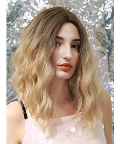 130 Density Women's Water Wave Synthetic Hair Simulated Big Scalp Breathable Capless Wigs 16Inch
