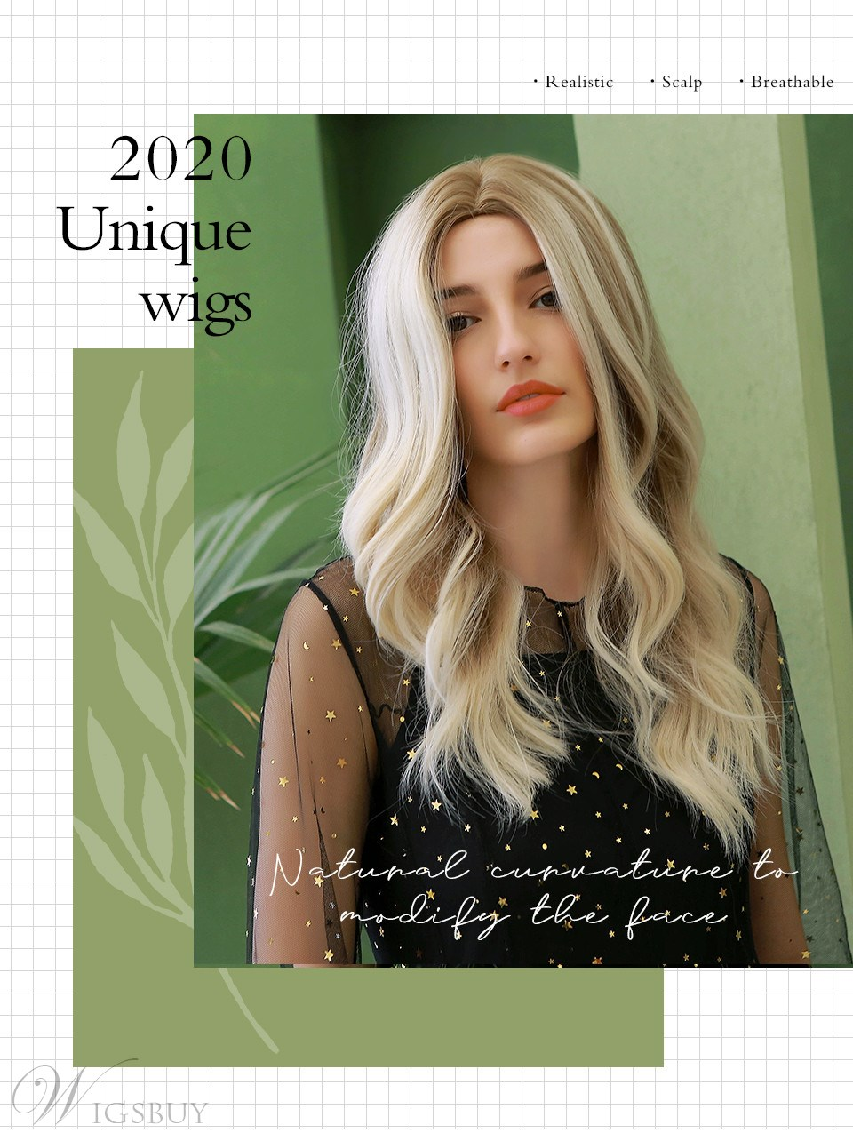Women's Wavy Synthetic Hair Simulated Big Scalp Breathable&Durable Rose Net Capless Wigs 24Inches
