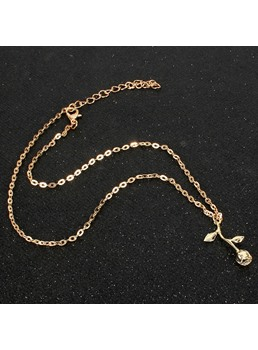 Wedding Women's European Style Floral Pattern Snake Chain Necklace