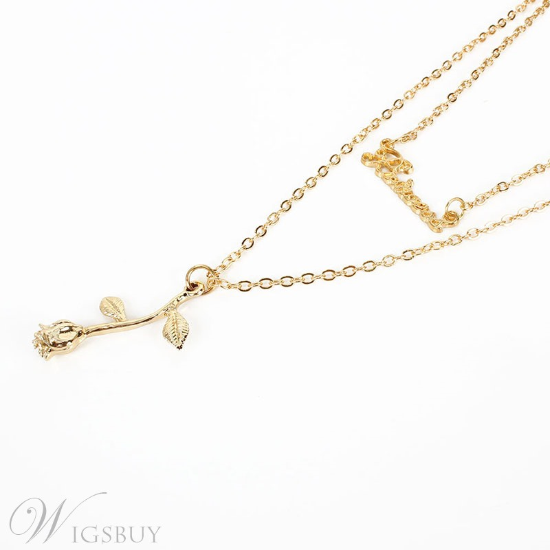 Women's Floral Pattern Alloy Pendant Material E-Plating Technic Snake Chain Necklace