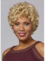 African American Women's Short Blonde Curly Hair Synthetic Hair Capless Wigs 6Inch