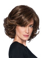 Medium Layered Hairstyle Women's Wavy Synthetic Hair Capless Wigs With Bangs 14Inch