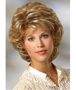 Women's Short Layered Hairstyle Blonde Curly Synthetic Hair Capless Wigs 10Inch