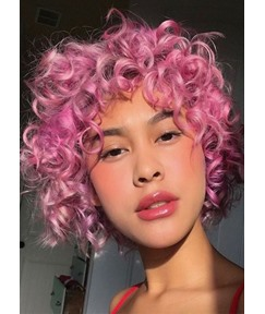 Women's Pink Color Short Curly Synthetic Hair Capless WIgs 10Inch