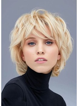 Short Layered Bob Hairstyles Women's Natural Straight Hair Capless Wigs With Bangs 10Inch