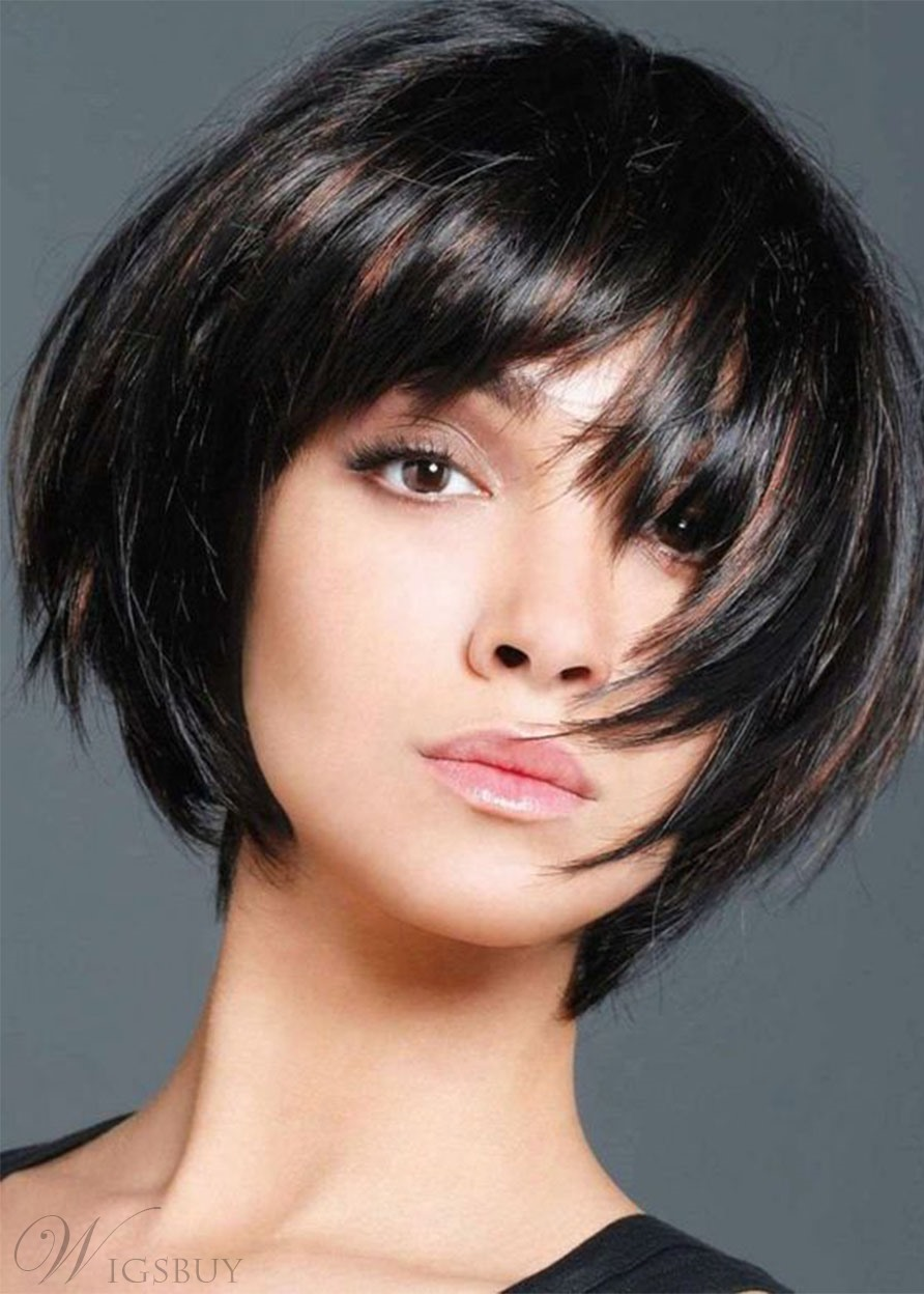 Women's Short Bob Hairstyle Natural Straight Human Hair Capless Wigs With Bangs 10Inch