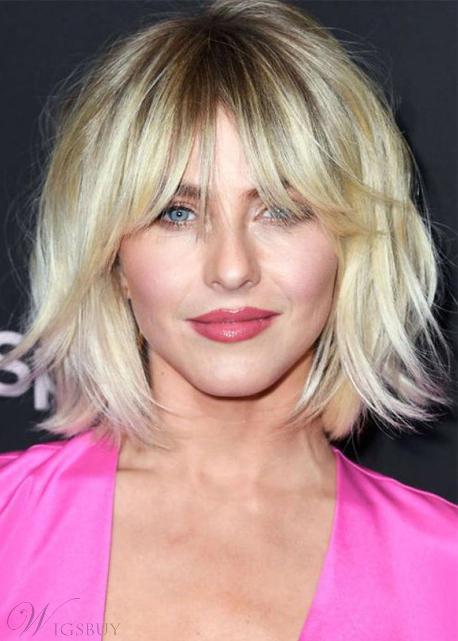 Short Layered Hairstyles Women's Natural Straight Human Hair Wigs With Bangs Capless Wigs 10Inch