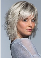 Short Layered Hairstyle Women's Blonde Natural Straight Synthetic Hair Capless Wigs With Bangs 12Inch
