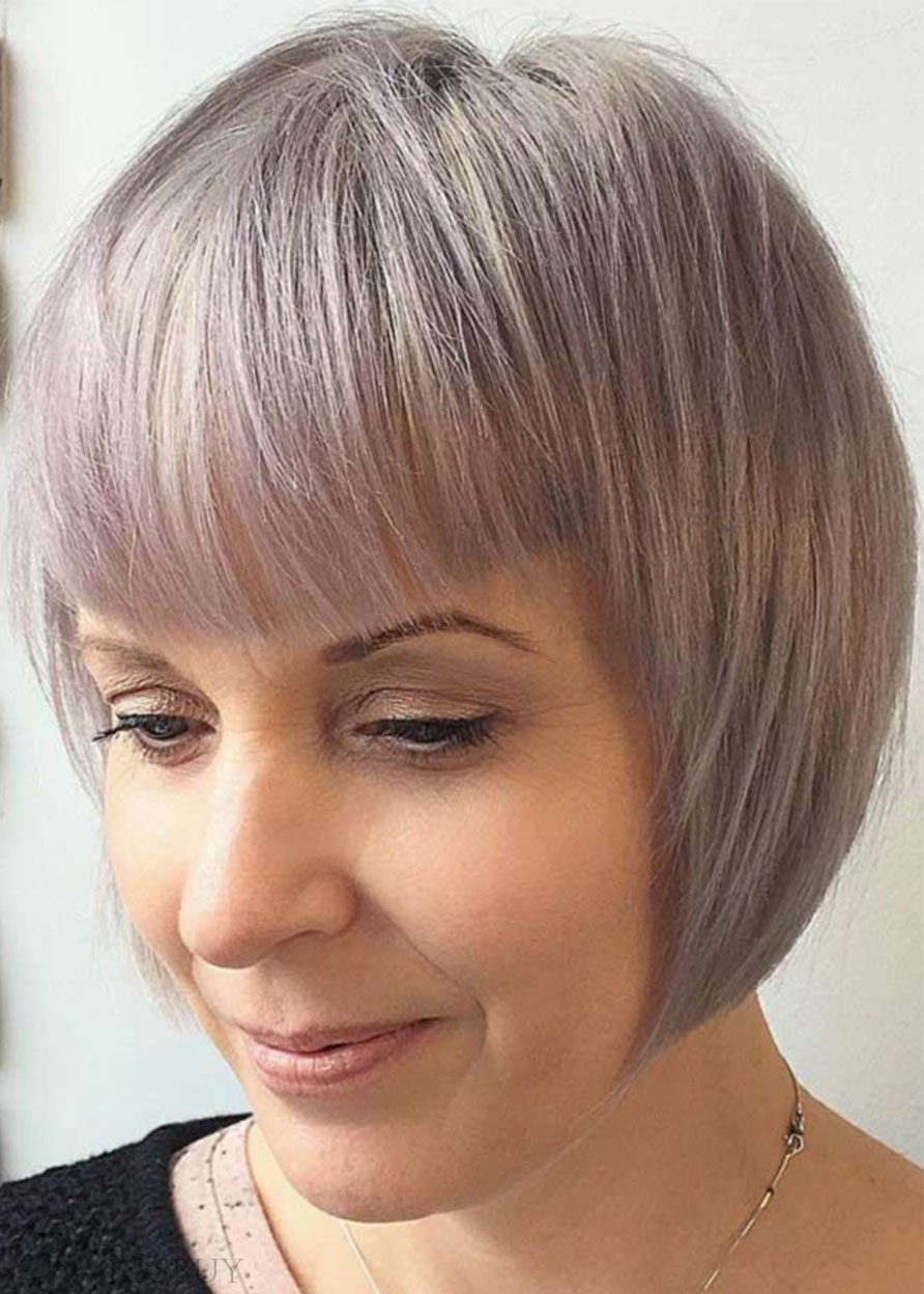 Short Bob Hairstyle Women's Pastel Blonde Bob Straight Synthetic Hair Capless Wigs With Bangs 10Inch