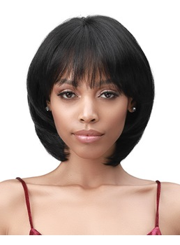 Short Bob Hairstyle With Bangs Natural Straight Human Hair Women Wig 12 Inches