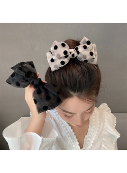 Korean Style Women's Yarn Material Polka Dots Pattern Hair Rope For Gift