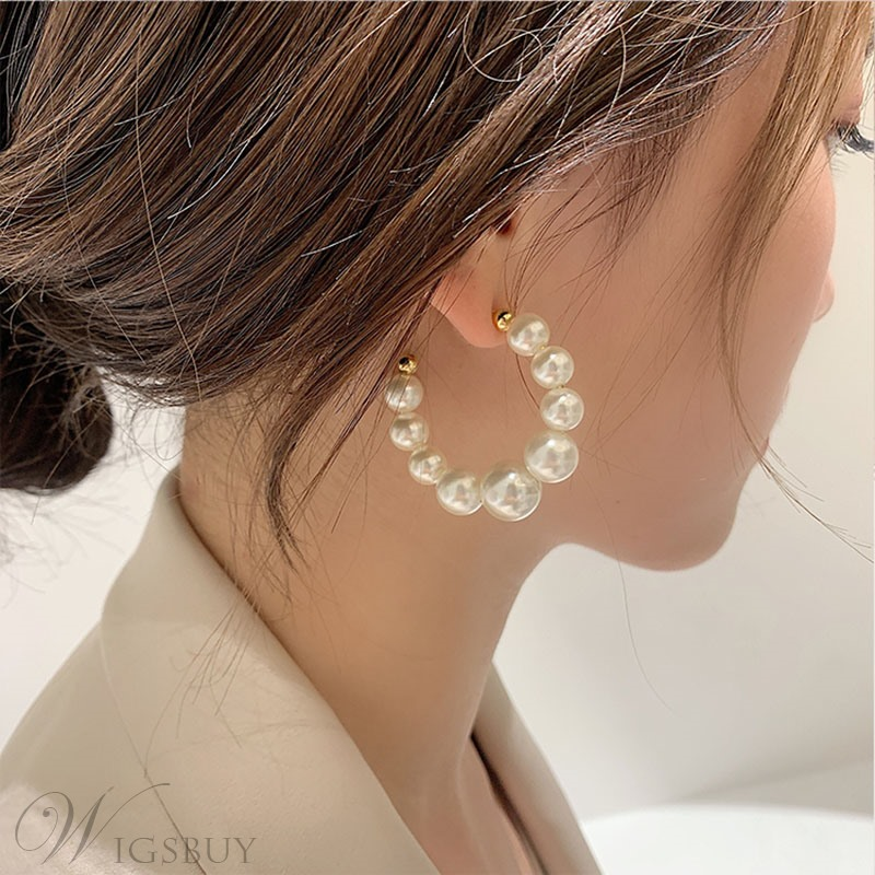 Korean Style Women/Ladies Pearl Inlaid Technic Hoop Type Earrings For Prom/Party
