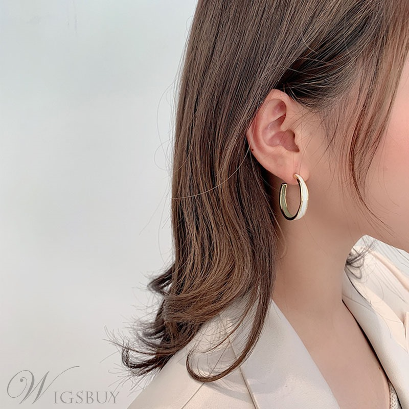 Adult Women/Ladies Korean Style Geometric Pattern E-Plating Technic Hoop Earrings