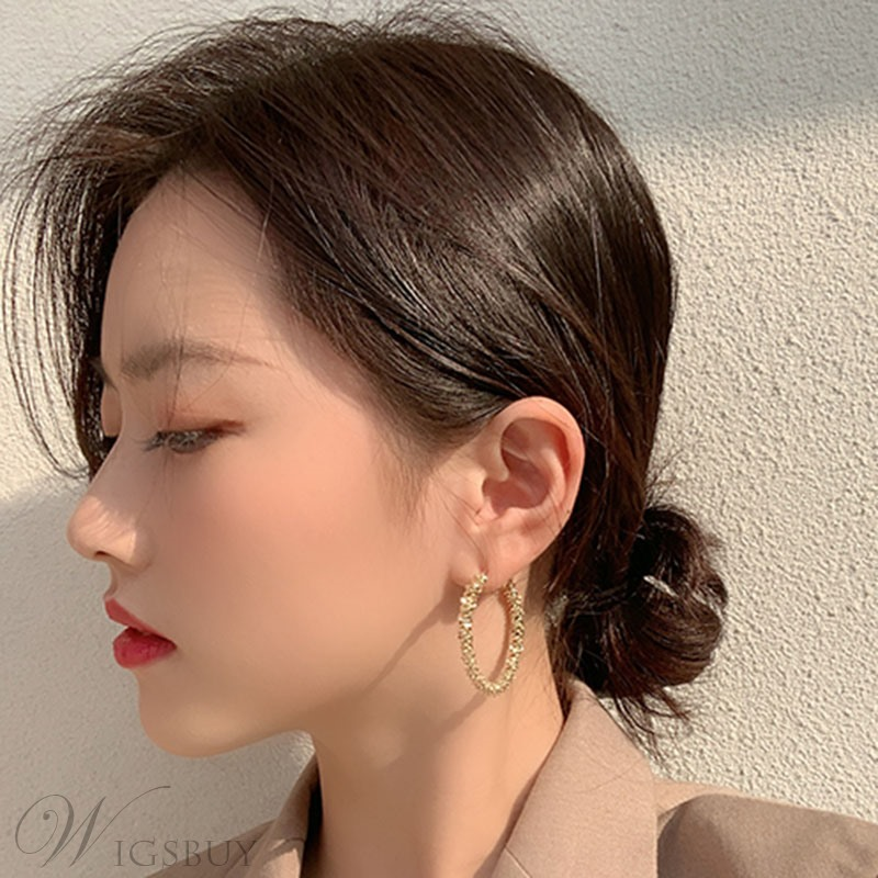 Korean Style Adult Women/Ladies E-Plating Technic Hoop Earrings For Party/Holiday
