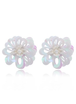 European Style Women's Floral Pattern Handmade Technic Plastic Material Stud Earrings