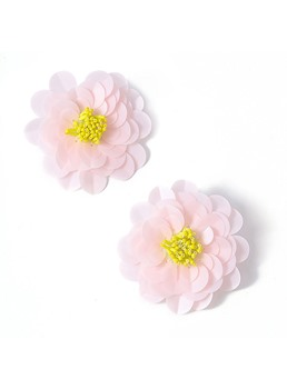 European Style Women's Floral Pattern Plastic Material Handmade Technic Stud Earrings