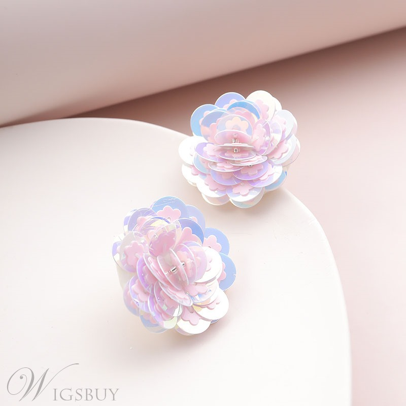 Adult Women's Sweet Style Floral Pattern Plastic Material Handmade Technic Stud Earrings