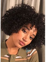Medium Hairstyles Women's Afro Kinky Culry Synthtic Hair Wigs Capless Wigs 14Inch