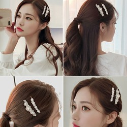Womens Korean Style Pearl Inlaid Technic Barrette Hair Accessories For Prom Wedding Party Gift Womens Korean Style Pearl Inlaid Technic Barrette Hair Accessories For Prom Wedding Party Gift
