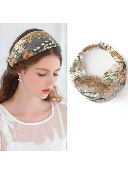 Women's Korean Style Floral Pattern Lace Material Hair Band Hair Accessories for Gift
