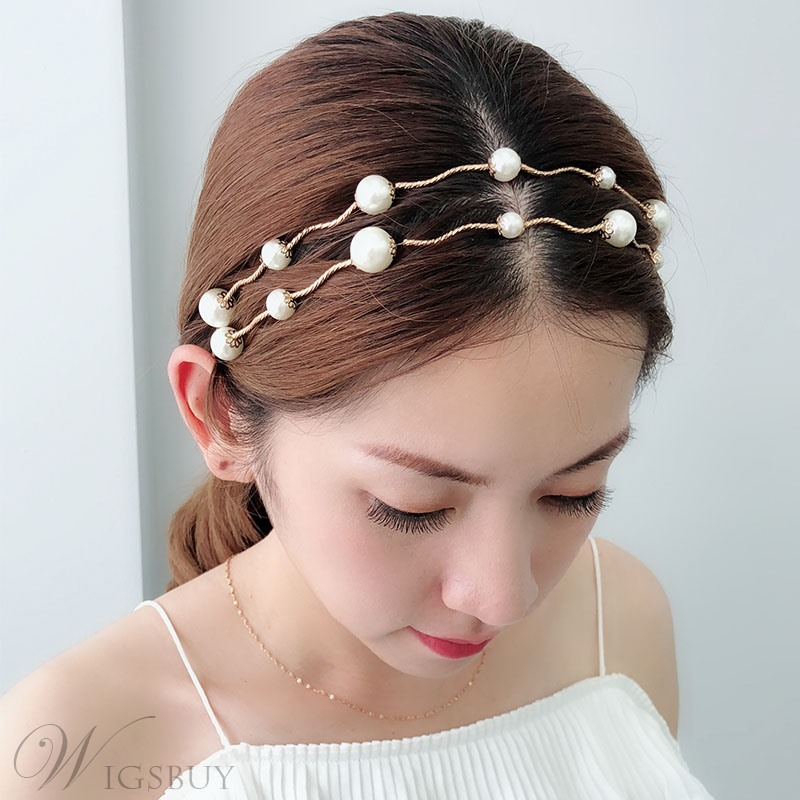 Women's Korean Style Pearl Inlaid Technic Hairband Hair Accessories For Prom Wedding Party