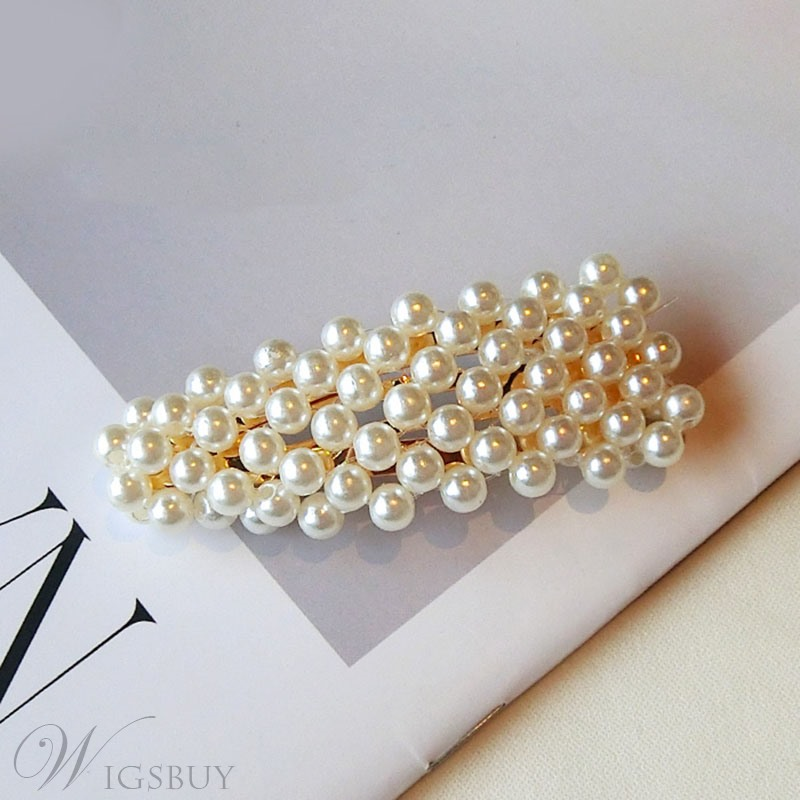 Women's Korean Style Pearl Inlaid Technic Barrette Hair Accessories For Prom Wedding Party Gift