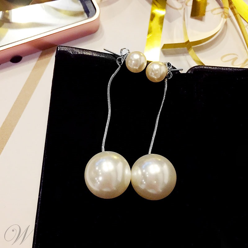 Korean Style Women/Ladies Pearl Inlaid Technic Drop Type Earrings For Prom/Party
