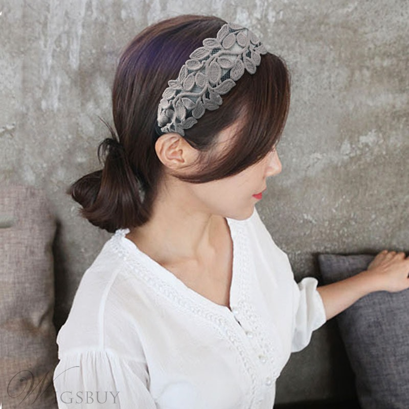 Adult Women's Korean Style Leaf Pattern Lace Technic Hair Band Hair Accessiores For Gift
