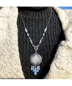 Adult Women's Ethnic Style Alloy Pendant Link Chain Hollow Out Technic Pendant Necklace