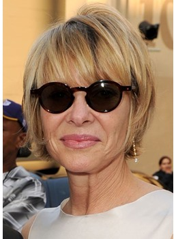Short Layered Hairstyles Women's Straight Synthetic Hair Wigs Capless Wigs With Bangs 10Inch