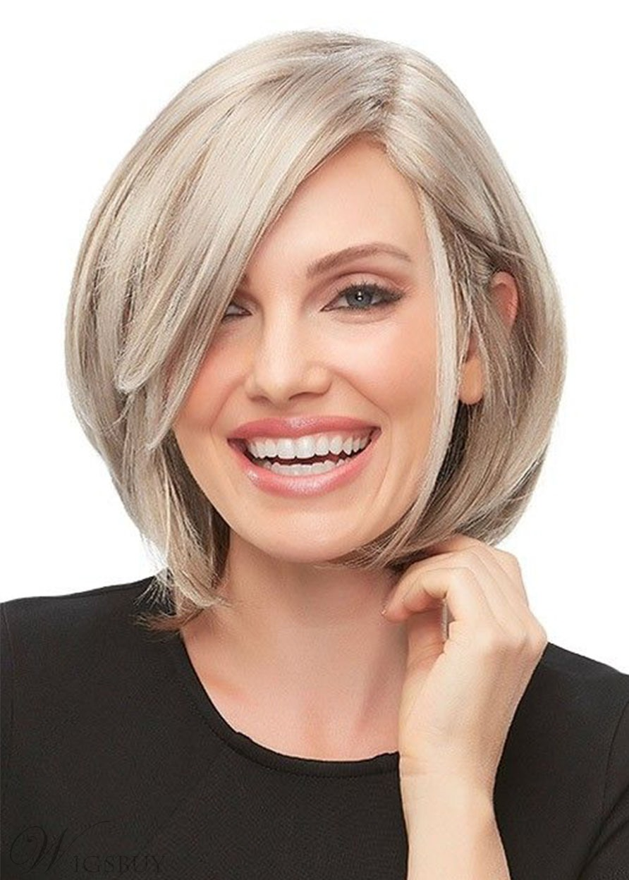 Women's Short Bob Hairstyle Blonde Color Straight Synthetic Hair Capless Wigs 12Inch