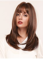 Women's Natural Straight Synthetic Hair Wigs With Bangs 130% Density Capless Wigs 24Inches