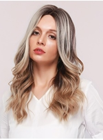 Women's Middle Part Ombre Color Wavy Synthetic Hair Rose Net Capless Wigs 24Inches