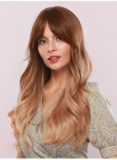 130% Density Sexy Women's Brown Color Body Wave Synthetic Hair Capless Wigs 28Inches
