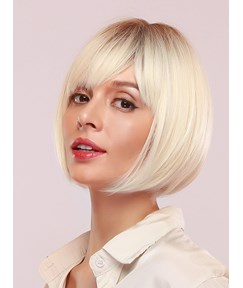 Women's Short Bob Hairstyle Straight Synthetic Hair Capless Wigs 130% Density 12Inches